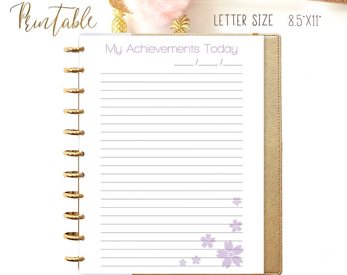 My Achievements Made to Fit Big Happy Planner Inserts  Letter Size Planner