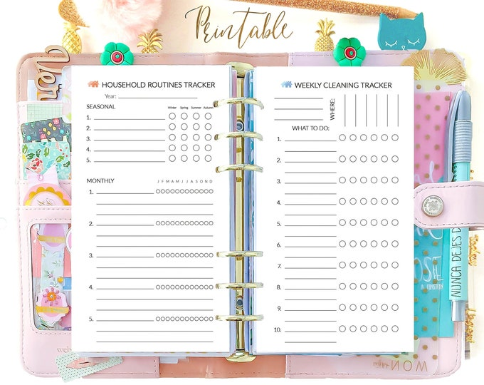 Personal Size Planner Inserts, Cleaning List, Household Organizer Printable Planner
