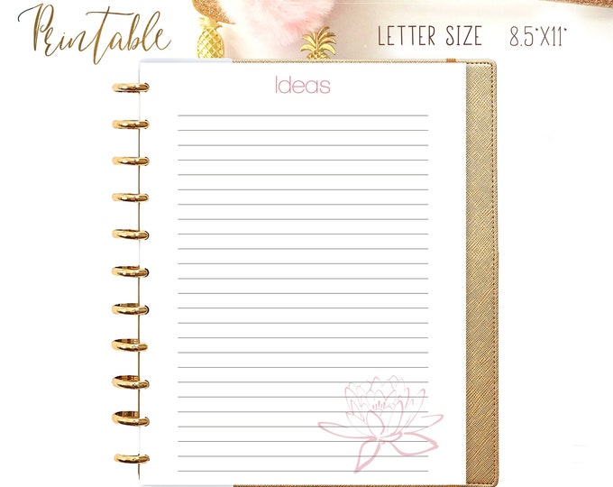 Ideas Printable Refills, Lined journal, Big Happy Planner Inserts Letter Size Planner