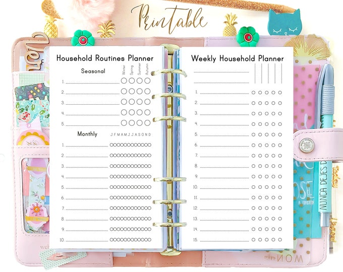Personal Size Planner Inserts, Household Binder, Cleaning List, Filofax Personal Inserts Printable