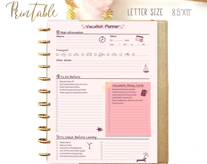 Vacation Planner for Big Happy Planner Inserts Printable Packing List