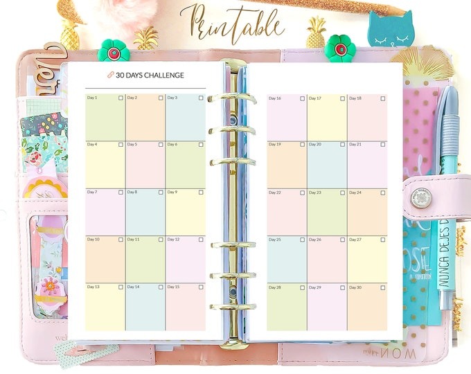 Habit Tracker Printable, Self Care Planner, personal size planner printable