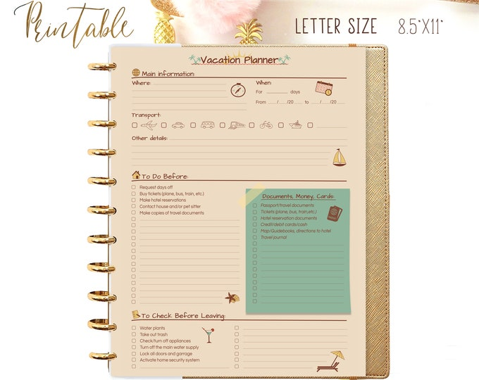 Travel Planner Printable Checklist For Big Happy Planner Inserts, Packing List