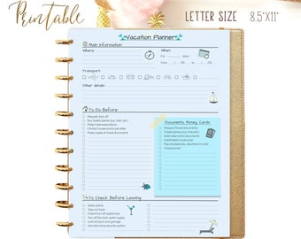 Big Happy Planner Printable Happy Planner Inserts Travel Planner Vacation Planner Packing Checklist Travel Journal Instant Download