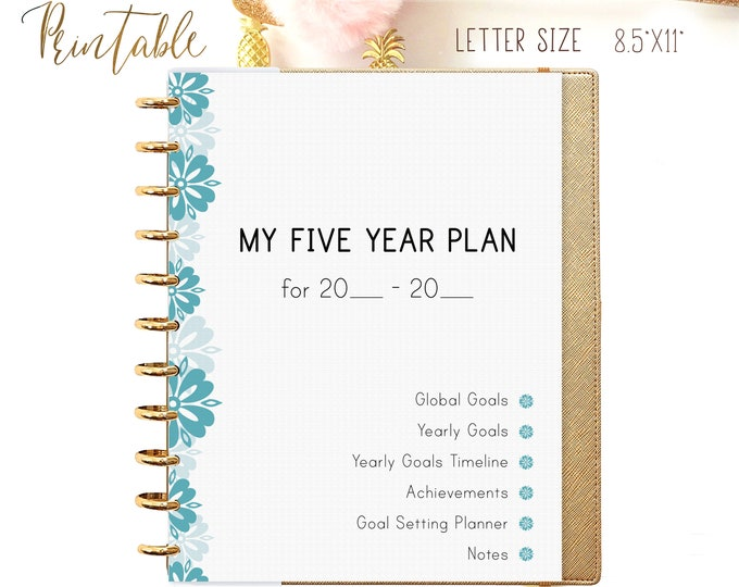 Yearly Goals Tracker for Big Happy Planner Inserts Printable Planner 2021