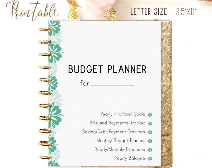 Budget Planner Printable, Big Happy Planner Inserts, Financial Goals.