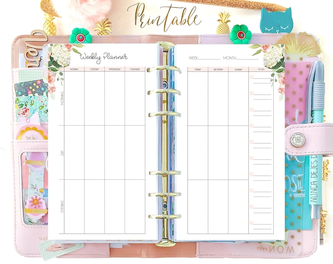 Weekly Planner pages, Week On Two Pages Personal Filofax Printable Planner, Weekly Agenda