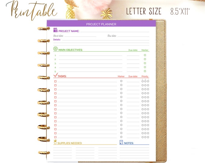Project Planner Printable Big Happy Planner Inserts, Craft Planner 2020