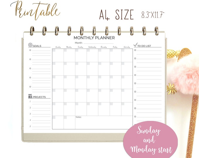 Monthly Planner, Printable Binder Inserts, Perpetual Planner, Instant Download