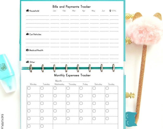 Finance Planner, Monthly Bill Tracker, Half Size Planner Printable, Expense Tracker,