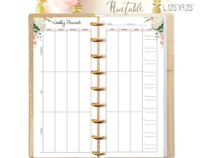 Weekly Planner Pages, Half Sheet Happy Planner Printable, Happynichi Inserts, Weekly Agenda