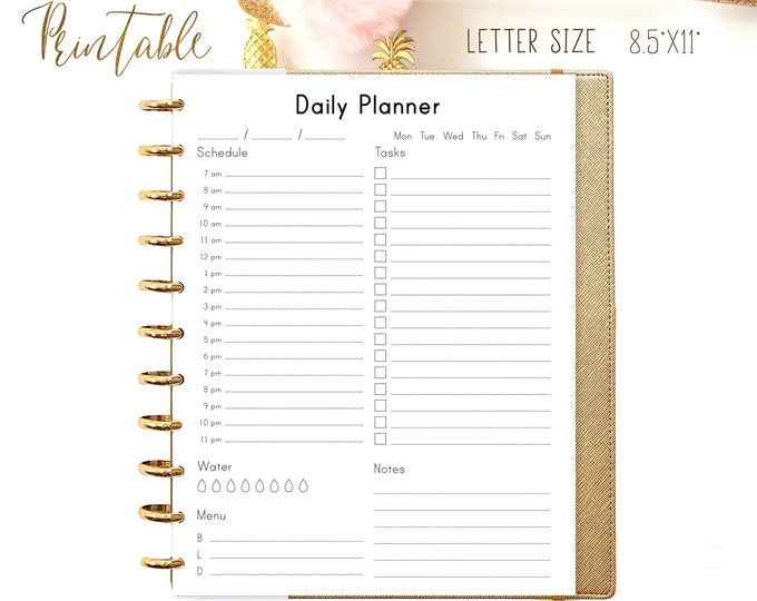 DAILY PLANNER Printable Letter Size Planner 8.5x11 Day On One Page.