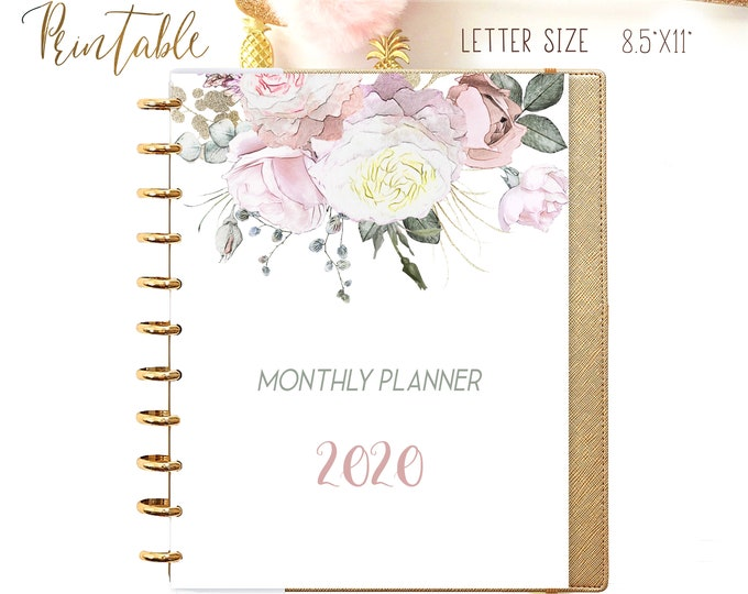 Monthly Planner 2020, Big Happy Planner Inserts, Printable Monthly Calendar 2020