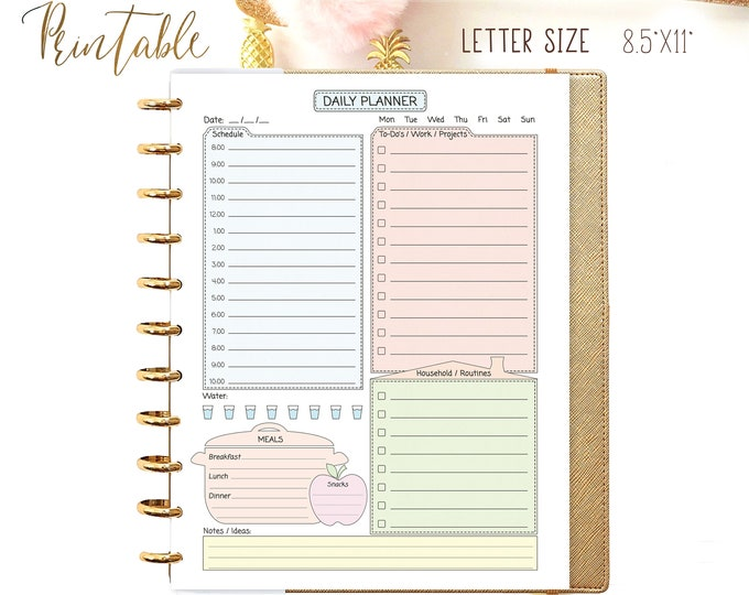 Daily Planner Big Happy Planner Inserts PDF Pastel Colors Inserts Printable Blue Green Inserts Daily Agenda Daily Schedule Instant Download