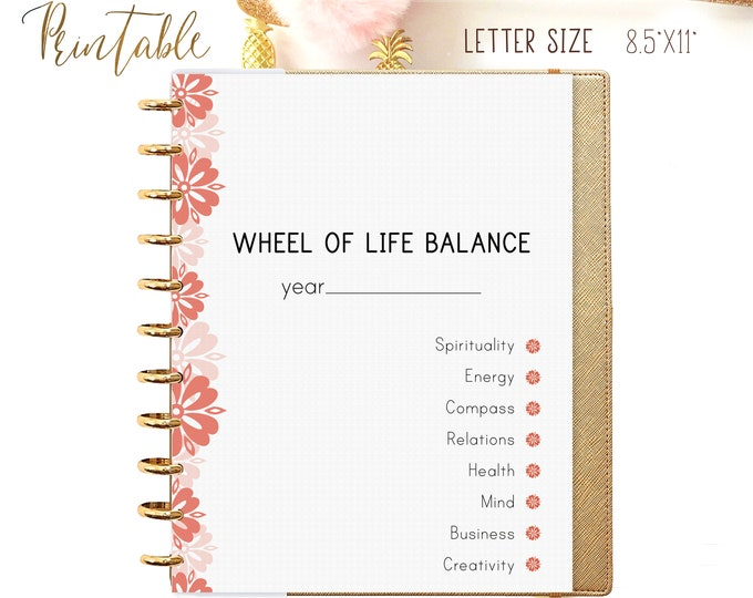 LIFE BALANCE WHEEL, Letter Size Planner, Big Happy Planner Inserts Printable