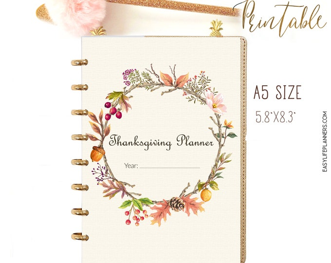 Thanksgiving Planner A5 Planner Inserts Menu Planner Autumn Decorations