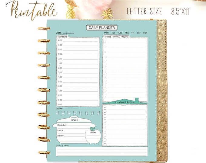 Daily Planner Pages Printable, Big Happy Planner Inserts, Daily Schedule, DO1P