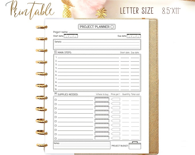 Productivity Planner, Goals Tracker, Letter Size Planner Big Happy Planner Inserts Printable