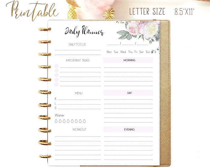 Daily Planner Pages, DO1P, Daily Routine, made to fit Big Happy Planner Inserts Printable