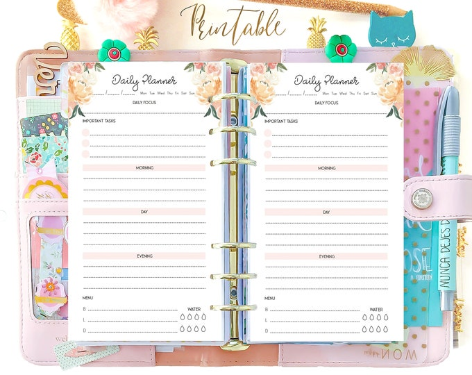 Daily Planner Pages, Filofax Personal Size Planner Inserts, Daily Planner 2020