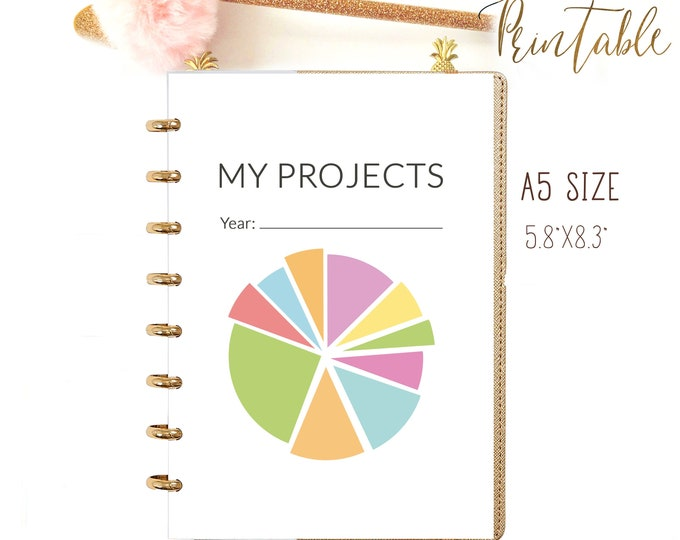 A5 Planner Inserts Printable, Productivity Planner, Goals Planner.