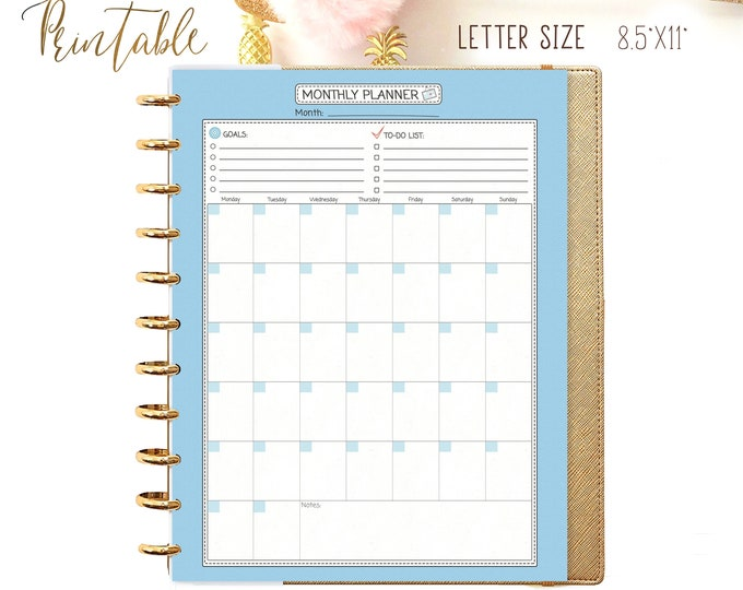 Monthly Planner Letter Size Monthly To Do List for Big Happy Planner Inserts