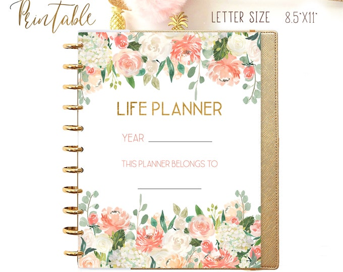 Life Planner 2021 Year Planner Printable Planner Pages, 8.5 x 11 Big Happy Planner Inserts Monday Start and Sunday Start Planner