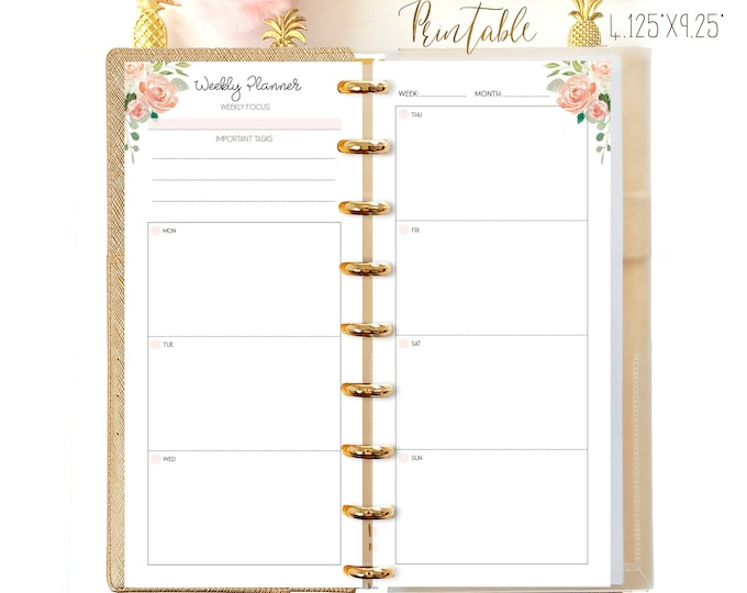 Weekly Planner Pages, Half Sheet Happy Planner Printable, Happynichi
