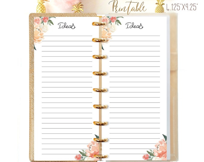 Ideas Inserts Printable Planner Made to fit Happy Planner Half Sheet Inserts Happynichi