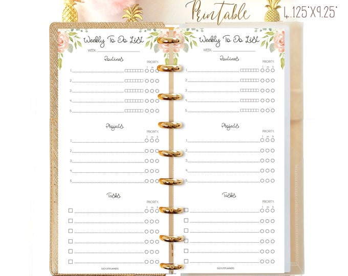 Weekly To Do List Printable Agenda, Happy Planner Half Sheet, Happynichi Printable
