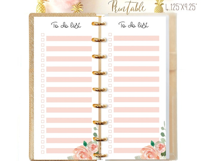 To Do List Printable Made to fit Happy Planner Half Sheet Printable Happynichi