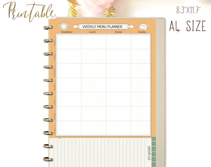 Weekly Meal Planner, Printable PDF, Shopping List, Binder Inserts A4, Menu Planner