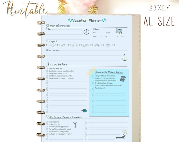 Travel Planner Printable Vacation Planner Trip Planner Shopping List, Packing List