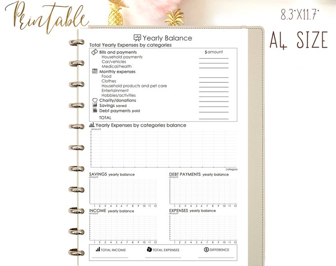 Monthly Budget Planner Printable, Financial Printable Planner, A4 Binder Inserts, Instant Download