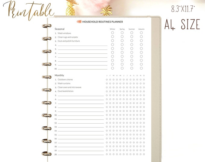 Cleaning Checklist Printable A4 Planner Inserts Household Organizer Household Routines Cleaning Tracker Cleaning Schedule Instant download