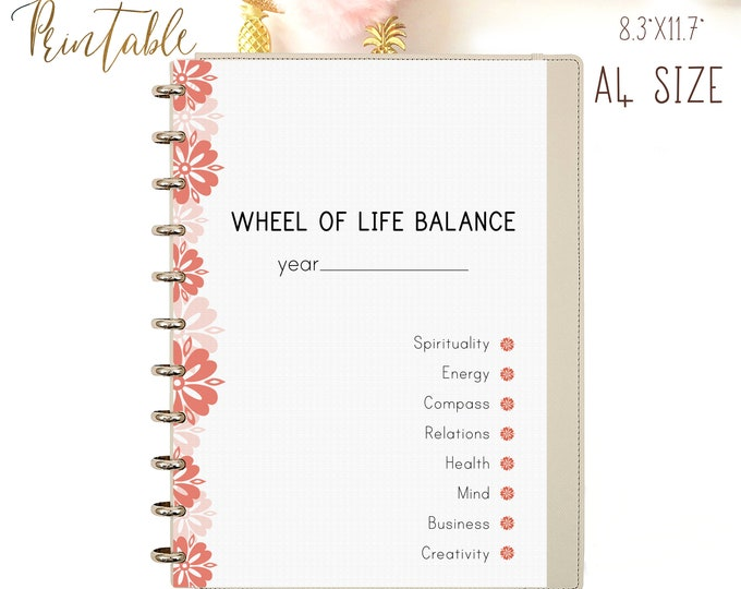 LIFE BALANCE WHEEL Life Management Personal Development Self-Concept Improvement Self-Image Printable Template. A4 Instant Download 4 pages