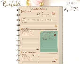 Vacation Planner, Trip planner, Packing list A4 Binder Inserts. Instant Download