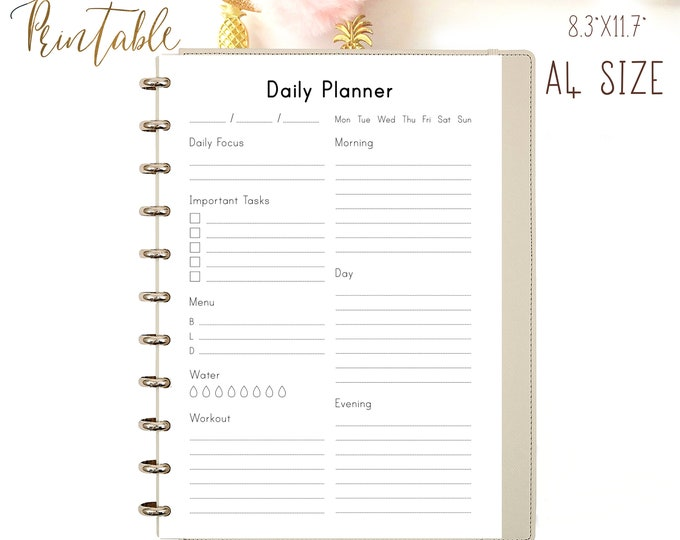 Daily Planner 2021 Printable Planner Pages, Health Planner, Binder Inserts