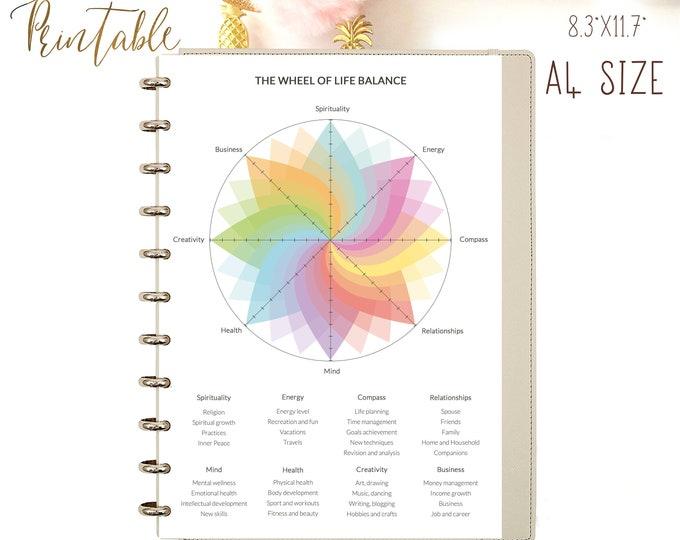 Wheel of Life Printable, Goals Planner, Level 10 Life.