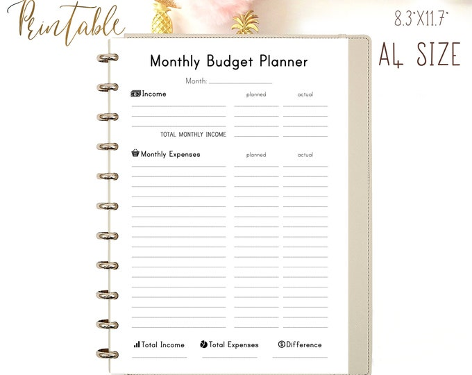 Finance Planner, Expense Tracker, Saving Tracker, Printable Planner PDF.