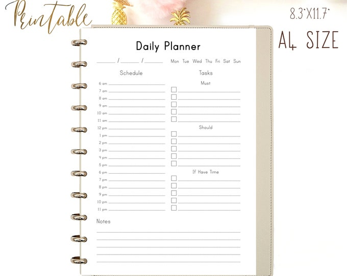 DAILY PLANNER Printable Daily Schedule Desk Planner Family Planner Daily Agenda Planner Inserts Daily Organizer To Do List Instant Download