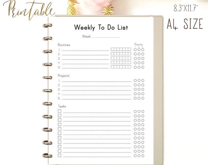 Weekly To Do List Printable Planner Weekly Organizer Binder Inserts.