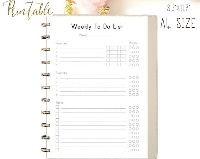 Weekly To Do List Printable Planner Weekly Organizer Binder Inserts.