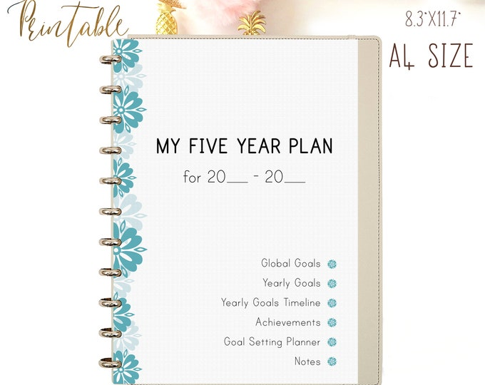 Productivity Planner 2021 Printable, A4 Binder Inserts Goals planner