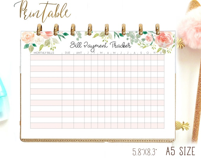 Bill Payment Calendar A5 Budget Planner, Filofax Inserts A5 Printable.