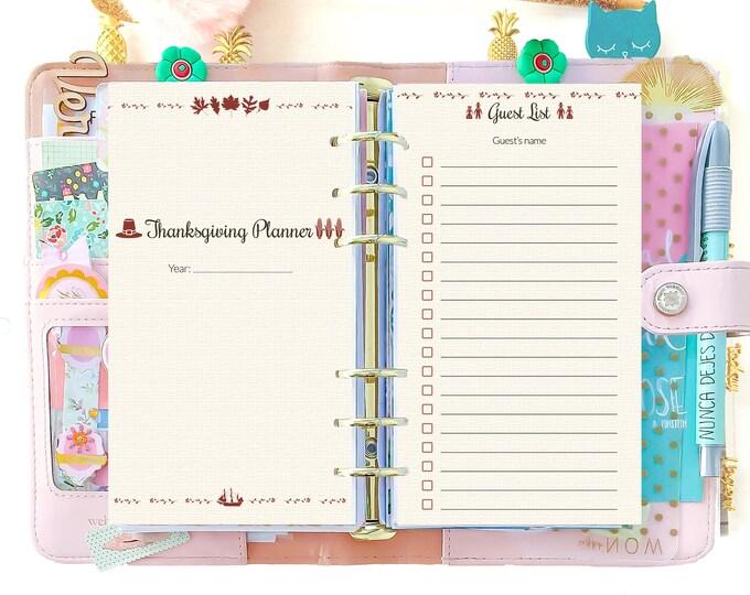 Thanksgiving Planner Filofax Personal Inserts November Calendar Holiday Printable Thanksgiving Dinner Checklist Instant Download