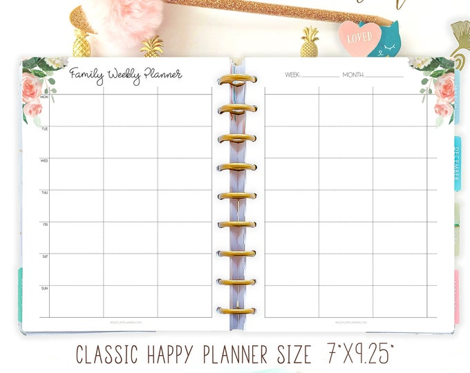 Family Organizer, made to fit Happy Planner Inserts Printable Week On 2 Pages