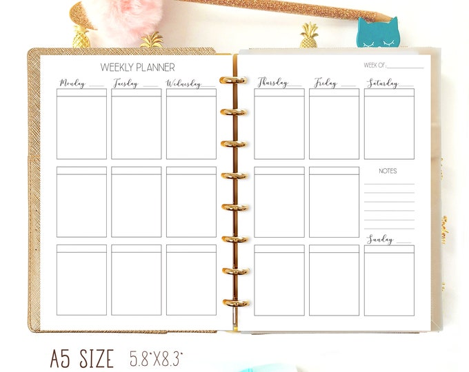 Weekly Planner Pages, A5 Weekly Insert, Weekly Agenda Printable
