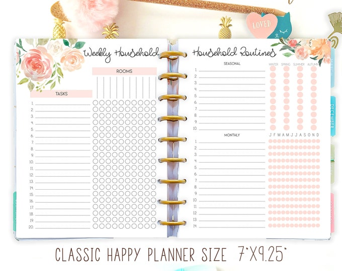 Household Binder Pages, Happy Planner Printable Inserts, Cleaning List, Family Organizer