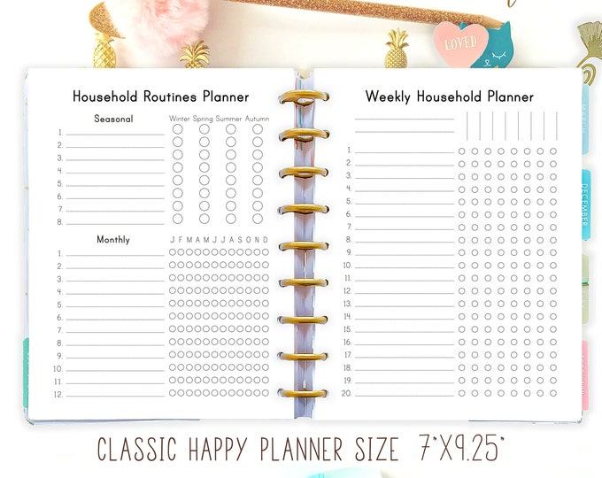 Cleaning Kit Happy Planner Printable Household Management Seasonal Cleaning Tasks Monthly Weekly Daily Routines Checklists